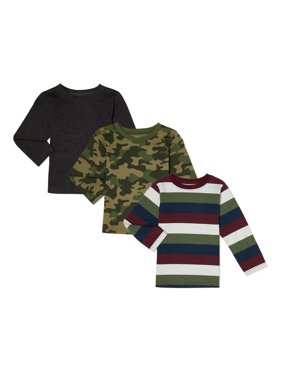 Garanimals Baby Boys & Toddler Boys Long Sleeve Stripe & Solid T-Shirts, 3-Pack (12M-5T)