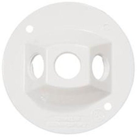 Morris Products 36842 4 In. Round Weatherproof Covers - Three Hole 0.5 In. White - image 1 of 1