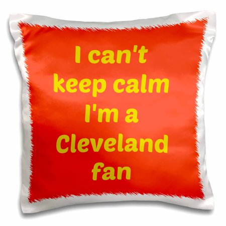 3dRose I cant keep calm Im a Cleveland fan, red, gold - Pillow Case, 16 by 16-inch (Gold Fangs)