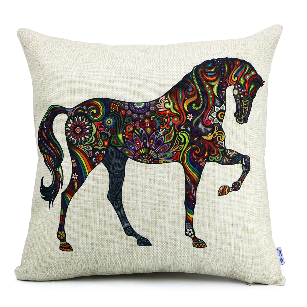 18 X 18 Euro Square Cotton Linen Horse Print Pattern Throw Pillow