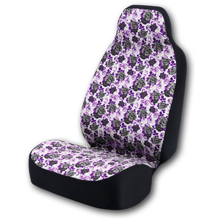 Coverking Universal Seat Cover Fashion Print, Ultra Suede, Black Roses and Purple Background with Black Interlock Backing