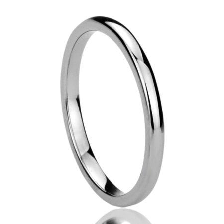 Women's 2MM Titanium Comfort Fit Wedding Band Ring High Polished Classy Domed Ring (5 to 11) Classy Design Wedding Band Ring