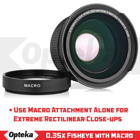Opteka .35x High Definition II Super Wide Angle Panoramic Macro Fisheye Lens for Canon EOS 80D, 70D, 60D, 50D,1Ds, 7D, 6D, 5D, Rebel T7i, T6i, T5i, T7i, T6, T5i, SL1 and SL2 DSLR with UV