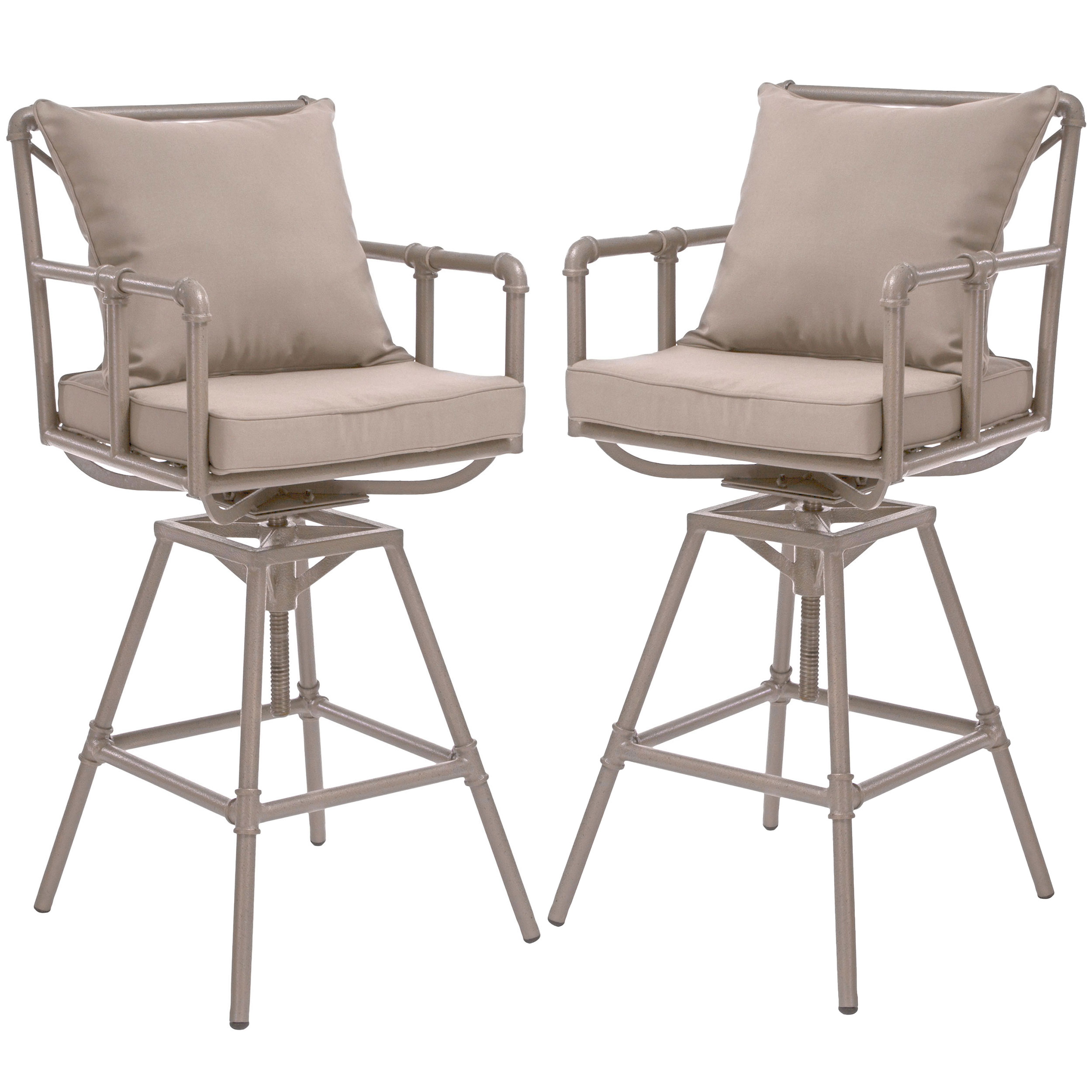 Odele Pipe Outdoor Taupe Swivel Bar Stools with Cushions (Set of 2) by GDF Studio