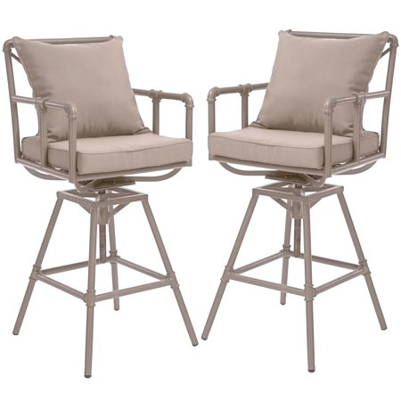 Odele Pipe Outdoor Taupe Swivel Bar Stools With Cushions Set Of 2