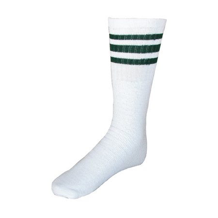 Striped Top Ribbed Tube Socks (4 Pair -
