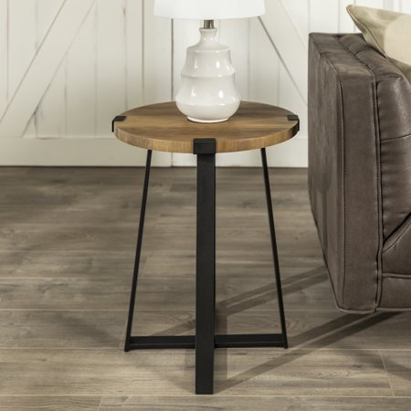 Rustic Wood and Metal Round Reclaimed Barnwood End Table by Manor Park, Reclaimed Barnwood Marbleized Finish Metal