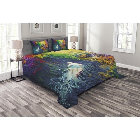 Modern Bedspread Set, Exotic Surfer in the Ocean Waves with Digital Featured Effects Sports Hobby Graphic, Decorative Quilted Coverlet Set with Pillow Shams Included, Multicolor, by Ambesonne