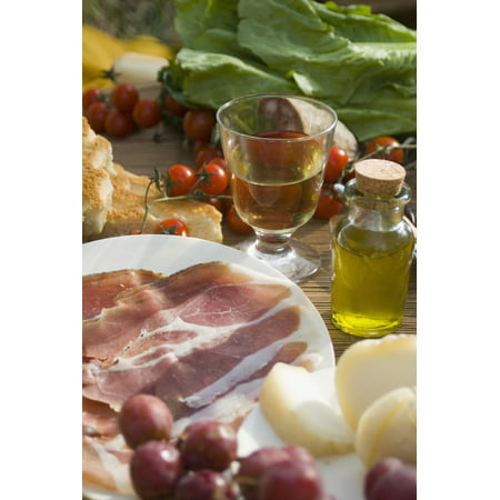 Prosciutto Ham Cheese Tomatoes White Wine And Other Ingredients For A Picnic In Tuscany Italy Stretched Canvas - Ian Cumming  Design Pics (12 x