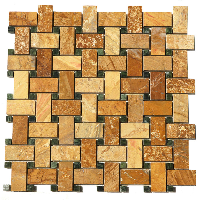 10 Sq Ft. Of  Autumn Gold 12X12 Basket Weave Polished