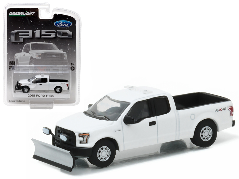 2015 Ford F-150 White with Light Bar and Snow Plow Pickup Truck Hobby Exclusive 1 64... by GreenLight