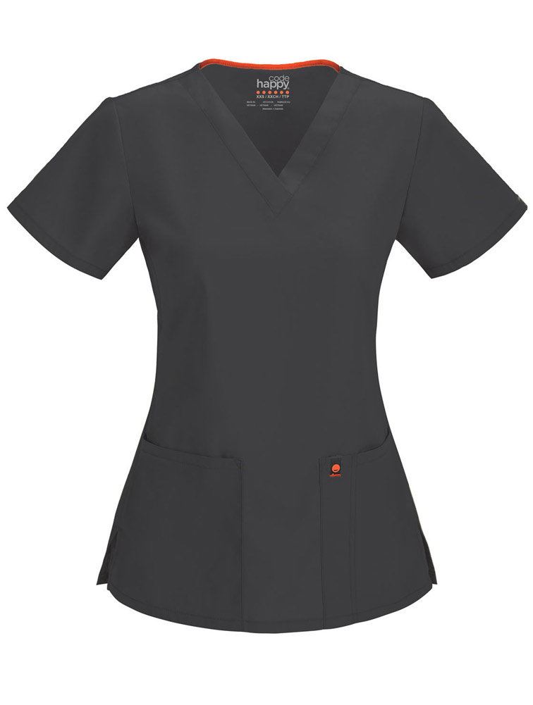 Code Happy V-Neck Top w/ Antimicrobial + Fluid Barrier Scrub Top