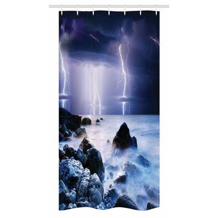 Nature Stall Shower Curtain, Summer Storm Flashes over the Rocks in Ocean Nightmare Theme Weather Nature Image, Fabric Bathroom Set with Hooks, 36W X 72L Inches Long, Purple Grey, by -