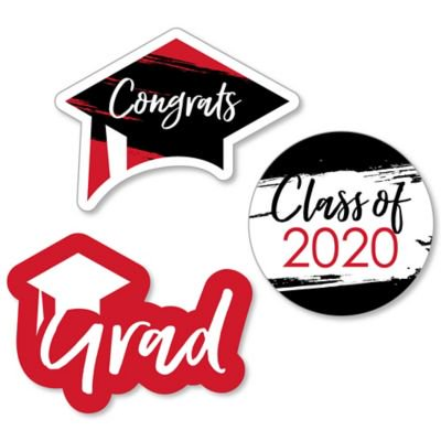 Graduation Party Items (Red Grad - Best is Yet to Come - DIY Shaped Red 2020 Graduation Party Cut-Outs - 24)