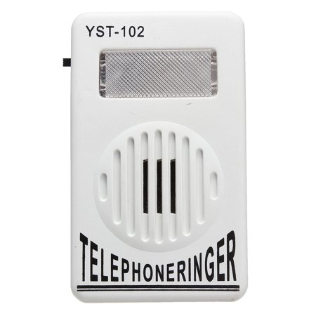 White ON OFF Switch Extra-Loud Telephone Ring Sound Amplifier Strobe Light Flasher Bell Ringer Up To 95dB