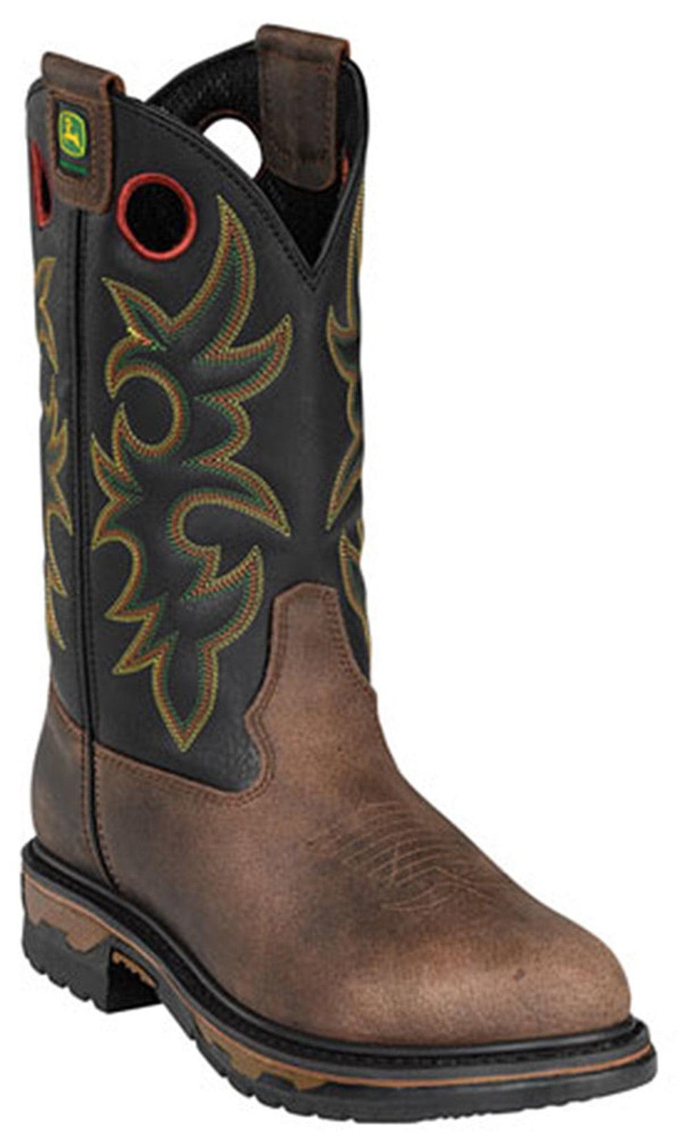 """John Deere Men's 11"""" WESTERN Brown Work Boot 8 M by"""