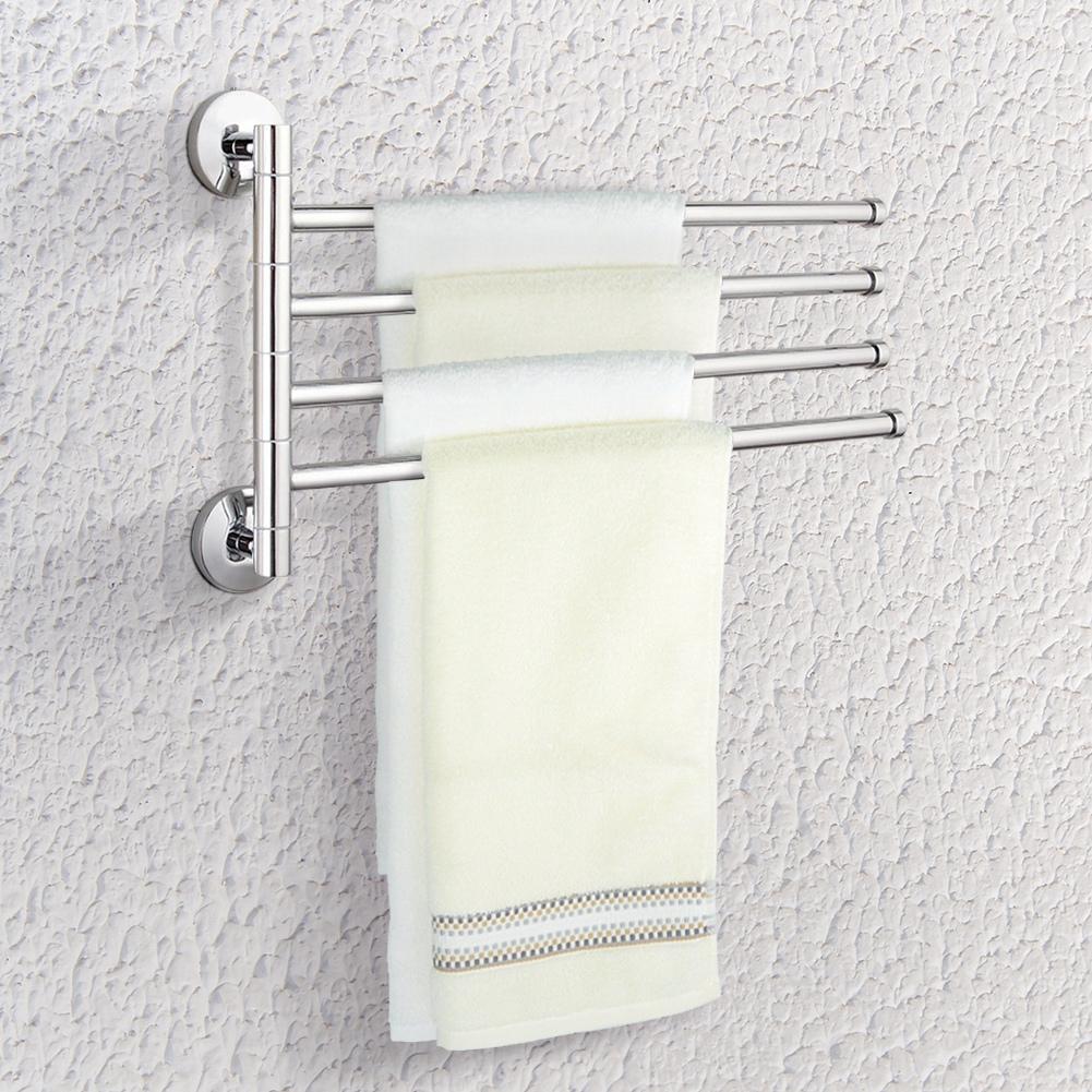 Yosoo New Home Bathroom Stainless Steel Wall Mounted 4 Swivel Towel