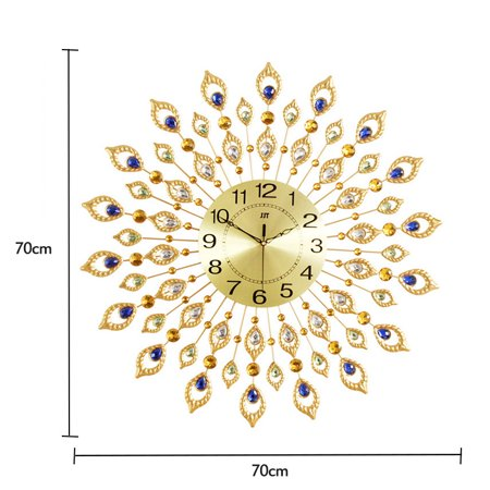 "27.6"" Large Peacock Clock Living Room Wall Clock Fashion Creative Home Wall Clock Mute Clock Quartz Clock European Peacock Clock - image 3 de 9"