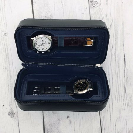 Watch Case Compact for 2 Watches Storage Protection Zipper Travel in Black or Brown