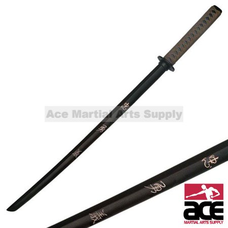 "SAMURAI WOODEN TRAINING SWORD 39.5"" WOODEN KATANA SOLID WOOD WITH LOYALTY, HEROIC COURAGE AND MORALITY ENGRAVE"
