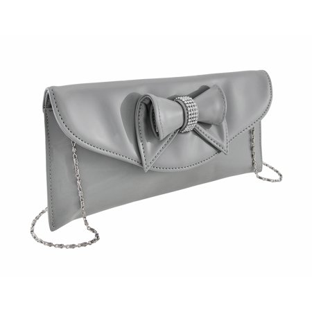 Glossy Clutch Purse with Rhinestone Accented (Snake Bow Clutch)