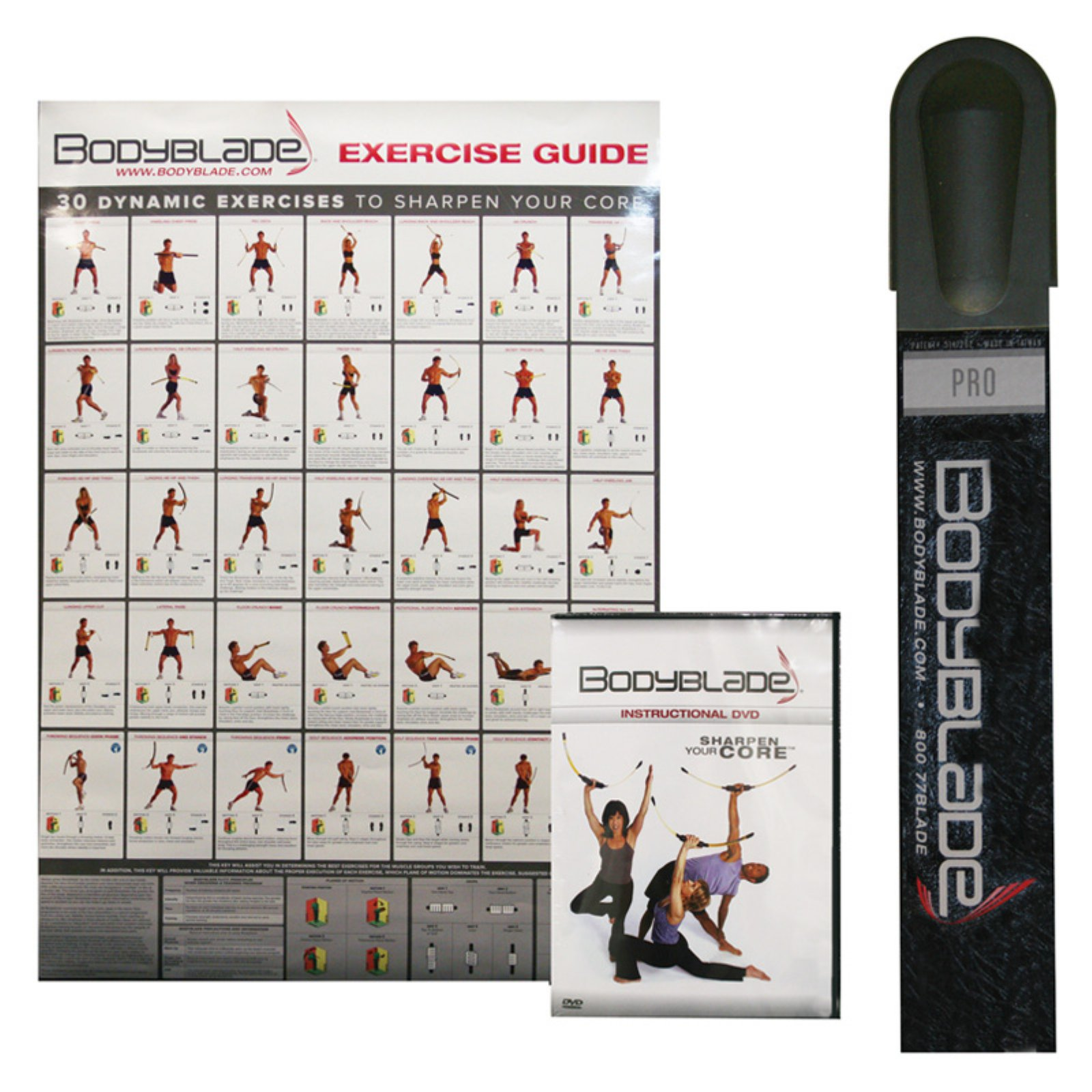 Bodyblade Pro kit with wall chart and instructional video