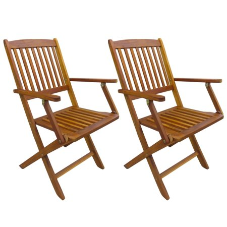 Yosoo Folding Garden Chairs 2 pcs Solid Eucalyptus Wood