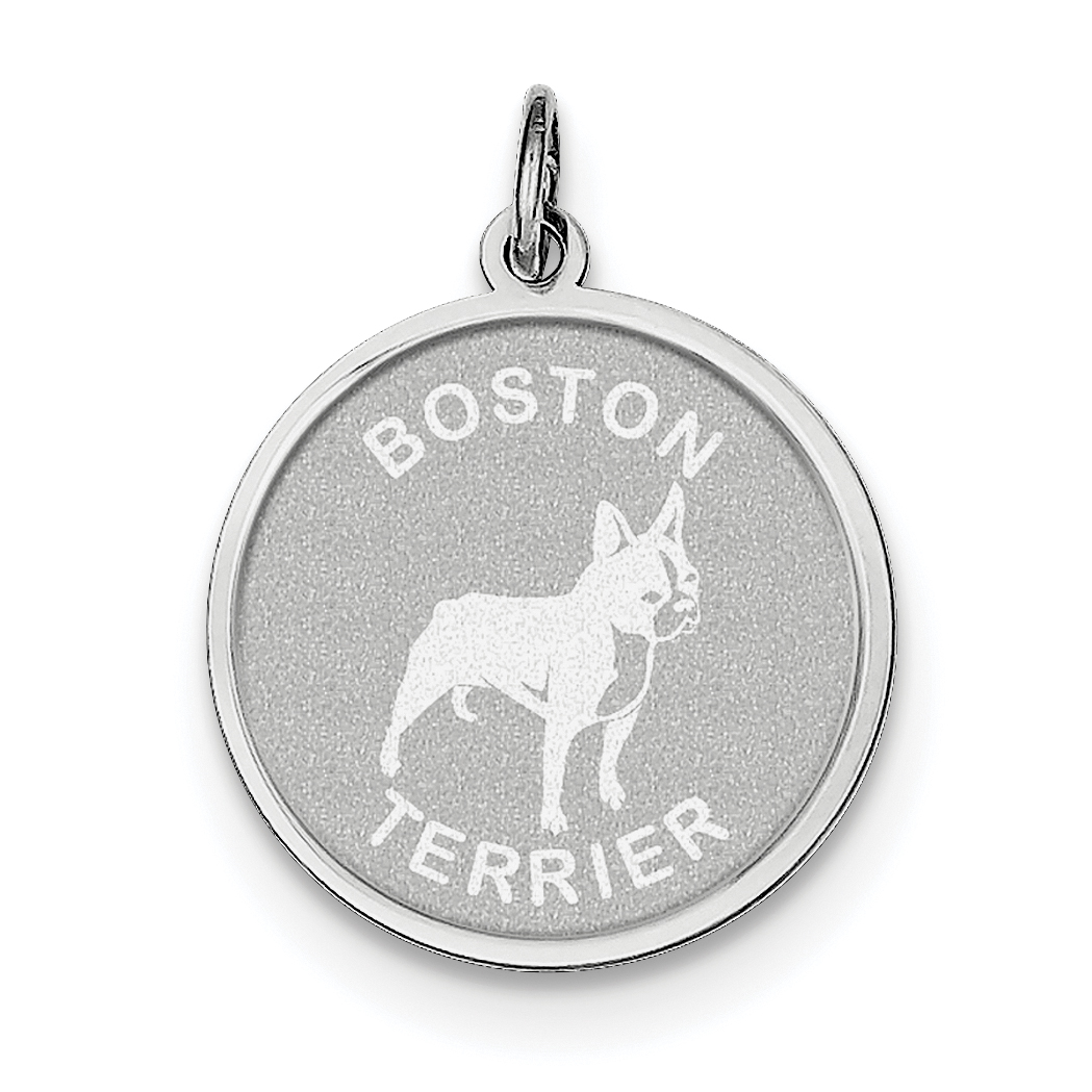 925 Sterling Silver Rhodium-plated Boston Terrier Disc Charm