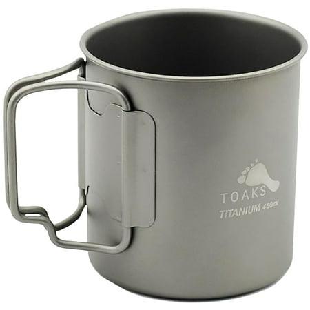 TOAKS Ultralight Portable Titanium Camping Mug with Folding Handles - 450ml ()