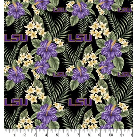 University of Louisiana LSU Tropical Cotton Fabric-Sold by the Yard - Lsu Store