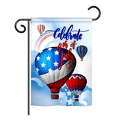 """Breeze Decor G161078-BO July 4th Hot Air Balloon Americana Fourth of Impressions Decorative Vertical 13"""" x 18.5"""" Double Sided Garden Flag"""