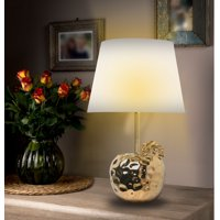 "19"" Ceramic Apple Gold Silver Finish Table Lamps Gold"