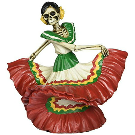 Red Skeleton Dancing Senorita Day of the Dead Dia de Los Muertos Figurine