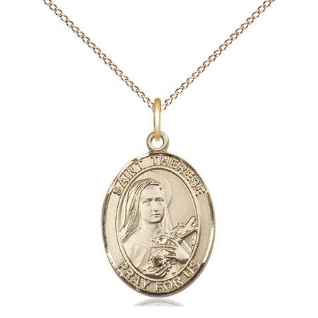St. Therese of Lisieux Patron Saint Medal in 14 KT Gold Filled with 18
