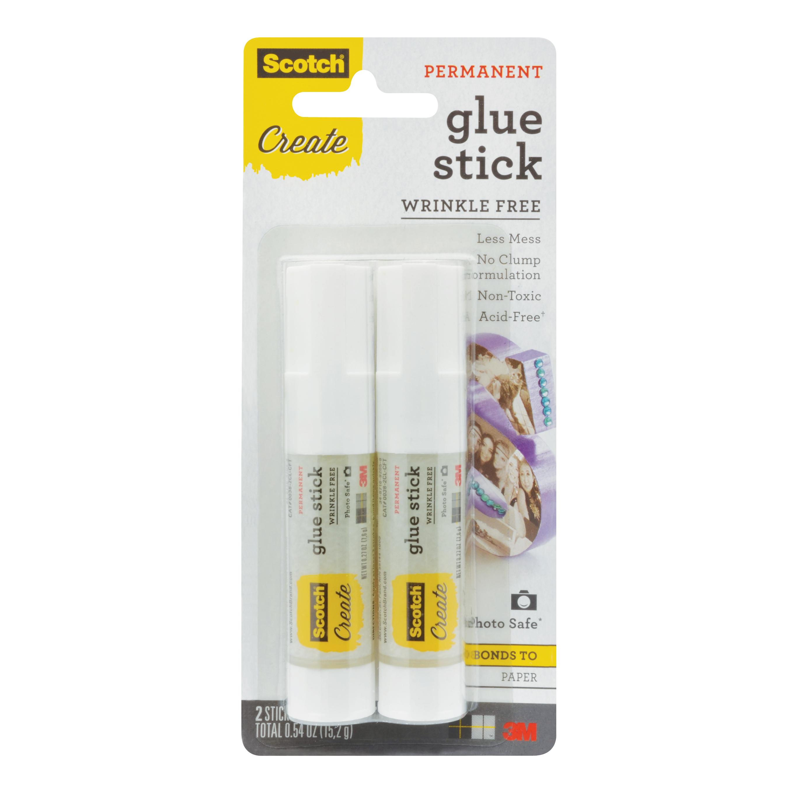 Scotch Glue Stick, 0.27 oz., 2/Pack