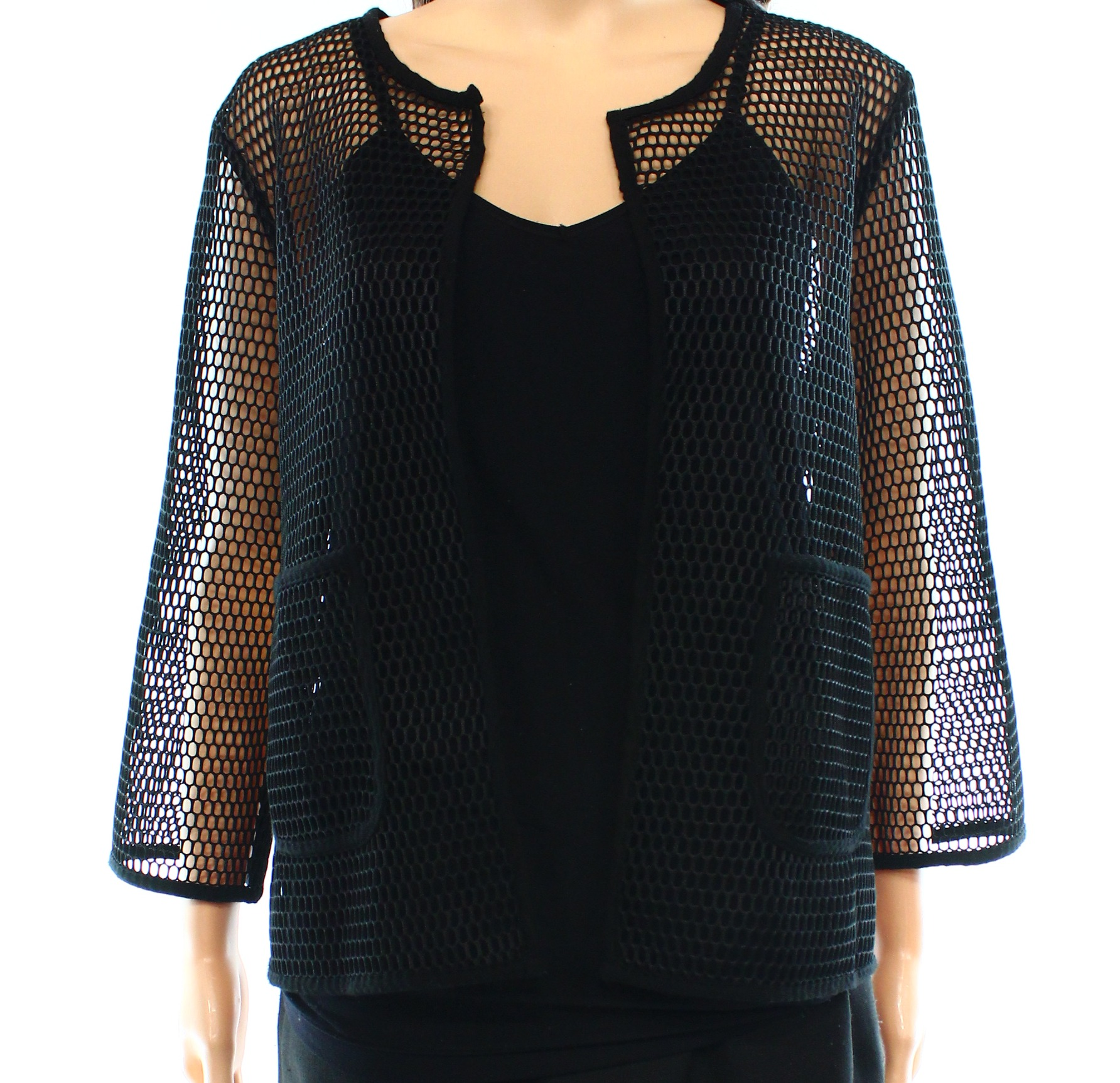 'Alfani NEW Black Women's Size Medium M Open-Front Mesh Solid Jacket