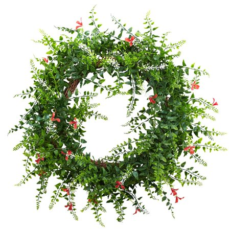 Nearly Natural 18 in. Floral & Fern Double Ring Wreath with Twig Base - Wreath Rings