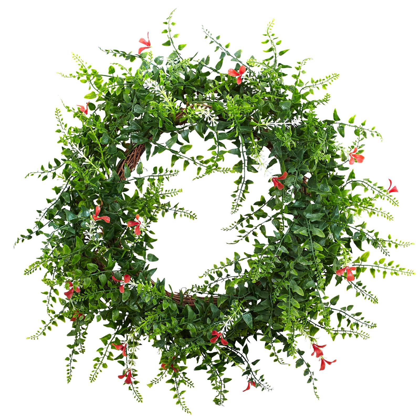 Nearly Natural 18 in. Floral & Fern Double Ring Wreath with Twig Base