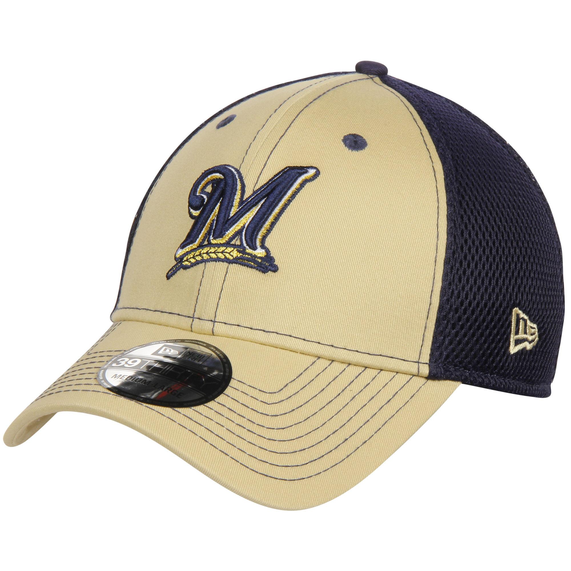 Milwaukee Brewers New Era Team Front Neo 39THIRTY Flex Hat - Gold/Navy