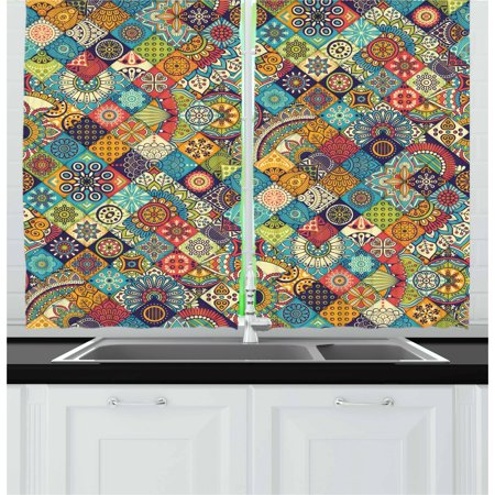 Bohemian Curtains 2 Panels Set, Checkered Pattern with Ethnic Ornamental Floral Figures Ethnic Folk Art Abstract, Window Drapes for Living Room Bedroom, 55W X 39L Inches, Multicolor, by Ambesonne ()