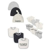 Wonder Nation Assorted Socks, Bibs & Caps Accessory Baby Shower Gift Set, 12pc (Baby Boys or Baby Girls, Unisex)