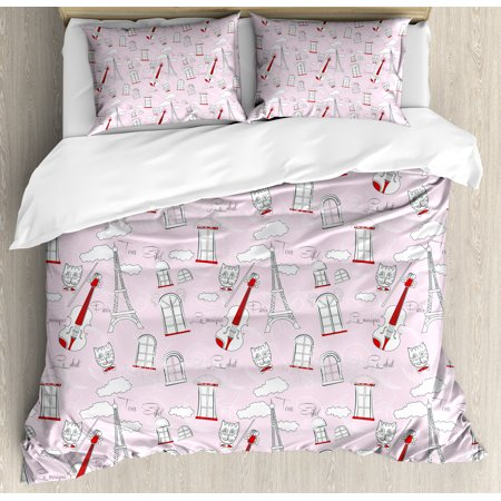 Paris Queen Size Duvet Cover Set, Abstract City Image Violin Cat with Bow Tie Eiffel Tower Illustration, Decorative 3 Piece Bedding Set with 2 Pillow Shams, Pale Pink Scarlet White, - Paris City Size