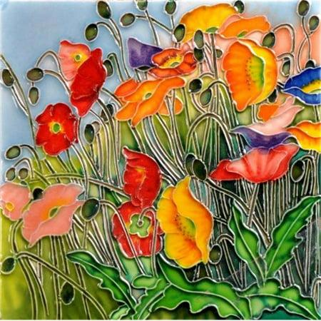 En Vogue B-316 Multi- Colored Poppies Flora Land - Decorative Ceramic Art Tile - 8 in. x 8 (8 Inch Ceramic Floor Tile)