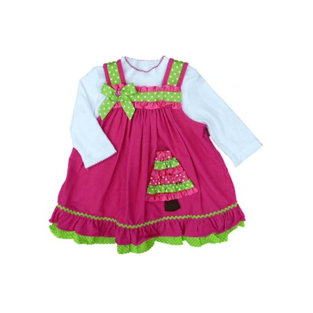 Rare Too! Infant Girls 2 PC Pink Corduroy Holiday Tree Jumper Dress (Corduroy Print Jumper)