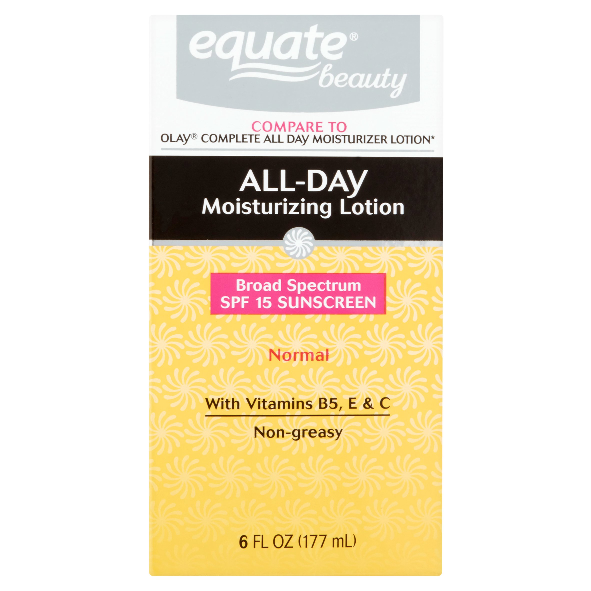 Equate Beauty Normal Skin All-Day Moisturizing Lotion with Sunscreen, 6 Fl Oz