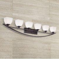 "Franklin Iron Works Modern Wall Light Bronze Hardwired 62 3/4"" Wide 6-Light Fixture White Glass for Bathroom Vanity Mirror"