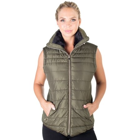 Women's Plus Size High Collar Quilted Puffer Vest with Faux Fur Inner Collar and Body Lining