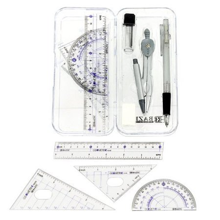 Math Geometry Tool Set - 8 Pieces - Rulers, Protractor, Compass and Pencil By Bazic