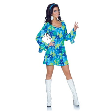 Plus Size 70s Wild Flower Retro Dress Costume - 70s Plus Size Costumes