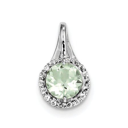 Sterling Silver White Topaz & Green Quartz Circle Pendant